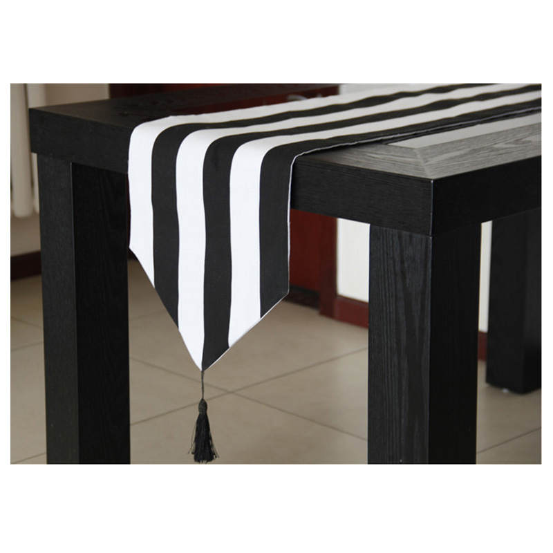 Table Runner Black White Striped Party