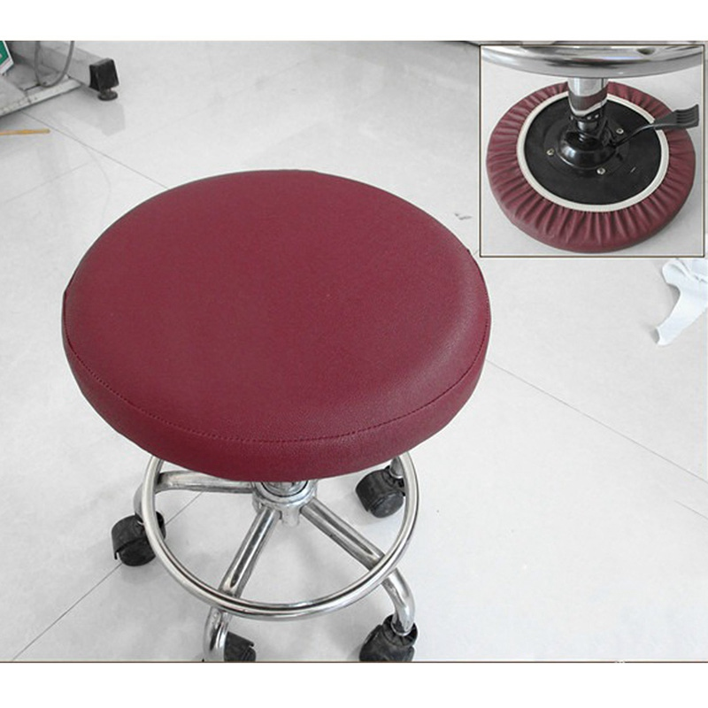 Round Bar Stool Cover Watedrproof Faux Leather Stool Slipcover 13 inch Coffee