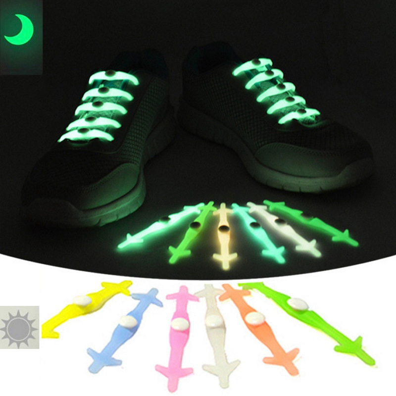 12PCS Silicone Shoe Laces Oxfords Shoelace Bootlace Creative Shoestring Easy Use